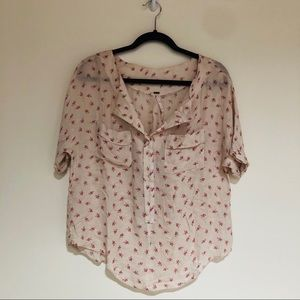 Free People Flowy Printed Blouse Size M